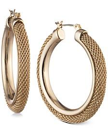 """Medium Mesh Hoop Earrings, 1.5"""""""