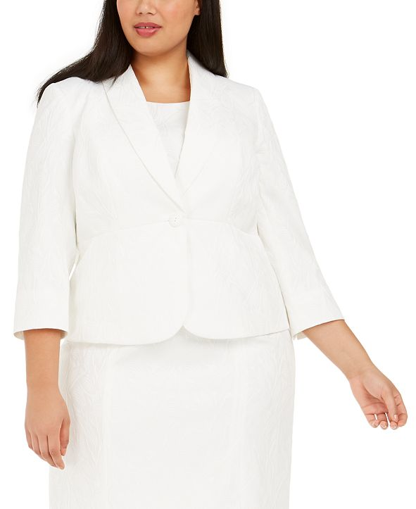 Kasper Plus Size 3/4-Sleeve Text-Leaf Blazer