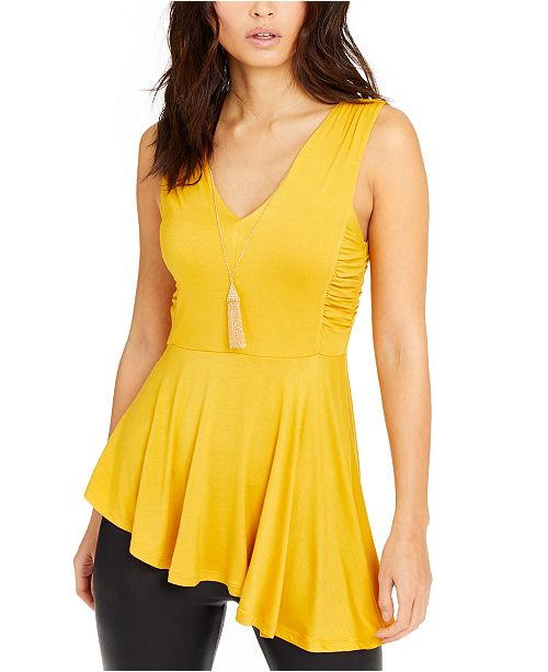 Thalia Sodi Ruched-Side Necklace Tank Top, Created for Macy's