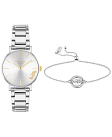 Women's Perry Stainless Steel Bracelet Watch 28mm Gift Set