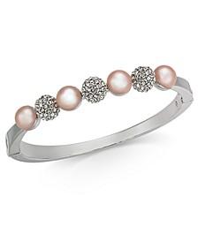 Silver-Tone Pavé Fireball & Imitation Pearl Bangle Bracelet, Created for Macy's