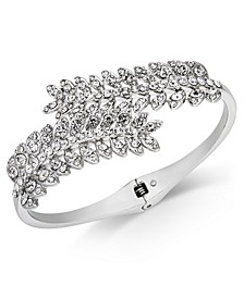 Silver-Tone Cubic Zirconia Leaf Hinge Bangle Bracelet, Created for Macy's