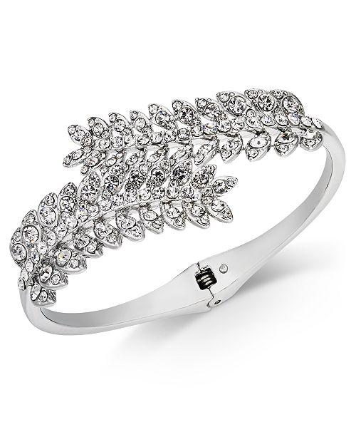 Charter Club Silver-Tone Cubic Zirconia Leaf Hinge Bangle Bracelet, Created for Macy's