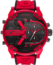 Diesel Men's Chronograph Mr. Daddy 2.0 Red Silicone Strap Watch 57mm