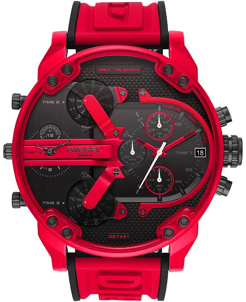 Diesel Men's Chronograph Mr. Daddy 2.0 Red Silicone Strap Watch 57mm