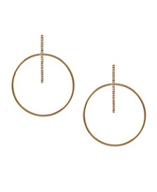 Gold Tone Pave Bar and Polished Wire Drop Earrings