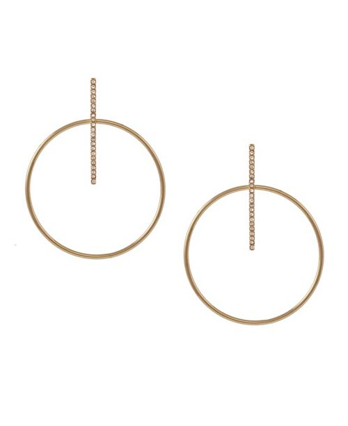 Christian Siriano New York Gold Tone Pave Bar and Polished Wire Drop Earrings