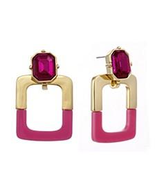 Gold Tone and Pink Resin Doorknocker Earrings