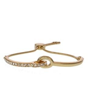 Gold Tone Slider Bar Bracelets with Crystal Stones