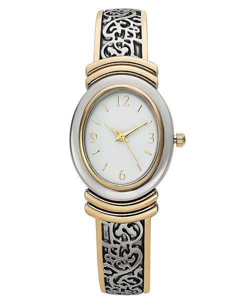 Charter Club Women's Two-Tone Cuff Bracelet Watch 28mm, Created for Macy's