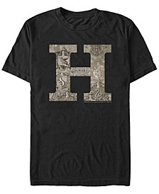 Harry Potter Men's Hogwarts H Vintage-Inspired Logo Short Sleeve T-Shirt