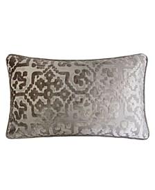 Iris Modern Cut Velvet Rectangle Decorative Throw Pillow