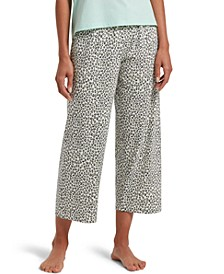 Leopard-Print Cropped Pajama Pants