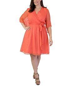 Plus Size Metallic-Threading Surplice Dress