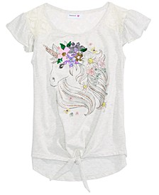 Big Girls Cotton Unicorn Flip Sequin Flutter-Sleeve Top