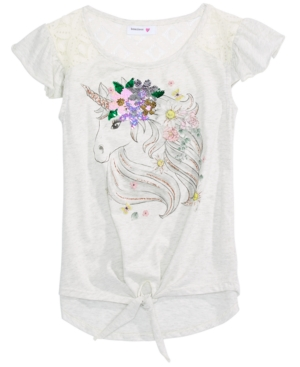 Beautees Big Girls Cotton Unicorn Flip Sequin Flutter-Sleeve Top