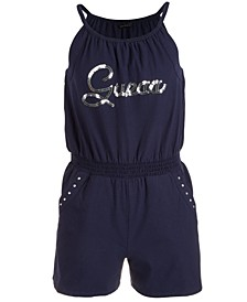 Big Girls Sequined-Logo Cotton Romper