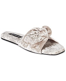 INC Women's Crushed-Velvet Knot Slippers, Created for Macy's