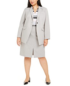 Plus Size One-Button Twill Jacket, Striped Top & Pencil Skirt