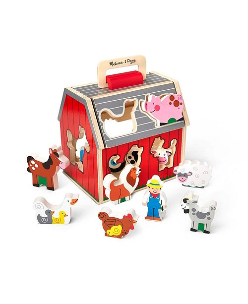 Melissa and Doug Melissa Doug Wooden Take-Along Sorting Barn Toy with Flip-Up Roof and Handle – 10 Wooden Farm Play Pieces