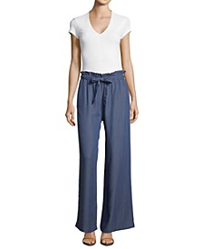 Petite Drawstring Wide-Leg Pants