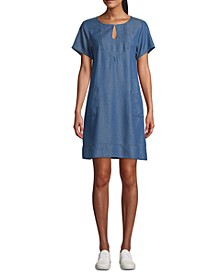 Petite Keyhole Short-Sleeve Shift Dress