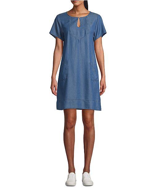 John Paul Richard Petite Keyhole Short-Sleeve Shift Dress