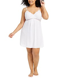 Plus Size Lace Chiffon Chemise Nightgown, Created for Macy's