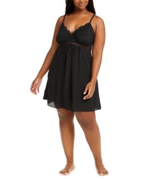 Plus Size Lace Chiffon Chemise Nightgown