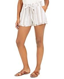 Juniors' Striped Frayed Shorts