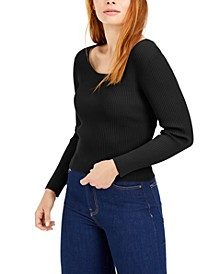 Laced-Back Ribbed Sweater, Created for Macy's