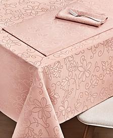"CLOSEOUT! Vivian Floral Blush Tablecloth, 60"" x 104"""
