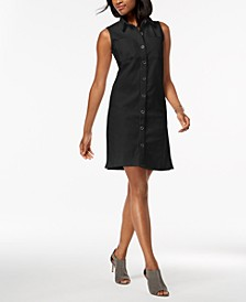 Petite Frayed Denim Sleeveless Shirtdress, Created for Macy's
