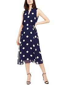 Polka-Dot Drawstring Midi Dress