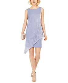 Crinkled Metallic Flyaway Dress