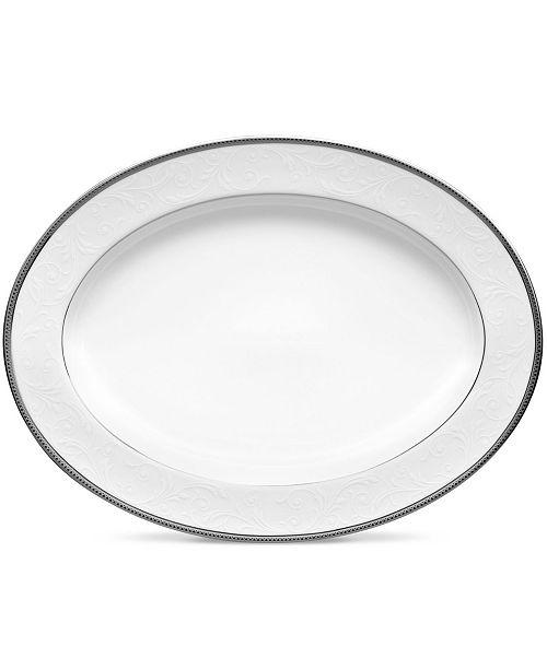 "Noritake Regina Platinum Oval Platter, 12"""
