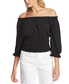 Polka-Dot Off-The-Shoulder Top