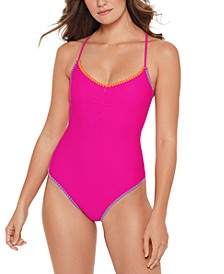 Juniors' Shell-Stitch Cross-Back One-Piece Swimsuit, Created for Macy's