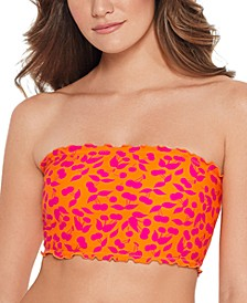 Juniors' Cherry On Top Printed Smocked Bandeau Bikini Top, Available in D/DD, Created for Macy's