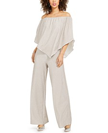 Off-The-Shoulder Shimmer Popover Jumpsuit