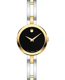 Women's Swiss Esperanza Two-Tone Stainless Steel Bangle Bracelet Watch 25mm