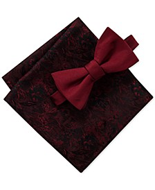Men's Poppy Solid Bow Tie & Floral Pocket Square Set, Created for Macy's