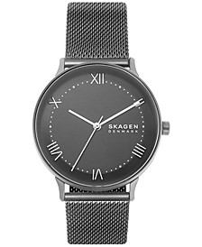 Men's Nillson Gunmetal Stainless Steel Mesh Strap Watch 40mm
