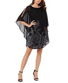 Embellished Cape-Overlay Dress