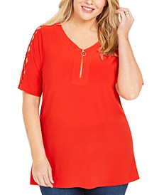 Plus Size Zip-Neck Lattice-Sleeve Top
