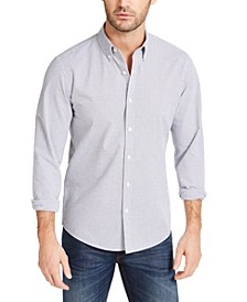 Men's Slim-Fit Grid-Print Seersucker Shirt