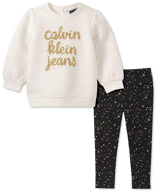 Calvin Klein Baby Girls 2-Pc. Quilted Top & Printed Leggings Set