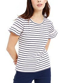 Striped Smocked-Sleeve Knit Top, Created for Macy's