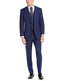 Men's Portfolio Slim-Fit Stretch Blue Pindot 3-Piece Suit Separates