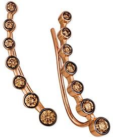 Chocolatier® Chocolate Diamond Ear Climbers (1/2 ct. t.w.) in 14k Rose Gold